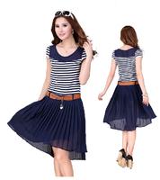 Free Shipping New Arrival Women 2014 Summer Plus Size Blue Strip Chiffon patchwork Pleated Dresses With Belt M XL XXL XXXL XXXXL