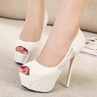 New 2014 Women  Pumps  thin high heel 14 cm  White  Black  party  wedding  shoes   women sandles  lace pure color  sexy  shoes