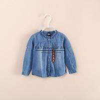 Chirldren Fashion 2014 Girls Jean Jackets Blue Baby Outwear Cotton Ruffled Collar Jacket Jaquetas Infantis Kids Clothes