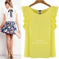 S-XL New 2014 Women's O-neck Lotus Leaf Pullover Lacing Bow Chiffon Shirt Top Women's Blouse Crop Top Clothing Blusas