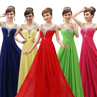 free shipping 2015 new fashion Double-shoulder long evening dress party slim chiffon formal dresses custom size
