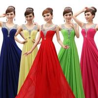 free shipping 2015 new fashion Double-shoulder long evening dress party slim chiffon formal dresses custom size