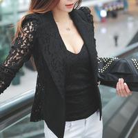 2014 New Top Shirt Sexy Sheer Lace Blazer Lady Suit Outwear Women OL Formal Slim Jacket Black White nz138 M L