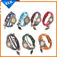 Women's Leaf Style Leather Band Quartz Analog Bracelet Watch watches