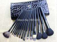 Hot Sale! New 15 pcs Black Makeup Brush Tools Make up Brushes Set Kits Cosmetic Brush with PU Case, Free shipping