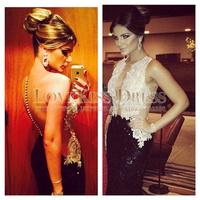 Sexy Sheer Scoop Neck Vestidos De Fiesta Sequined Lace Mermaid See Through Prom Evening Dress 2014 DYQ1169