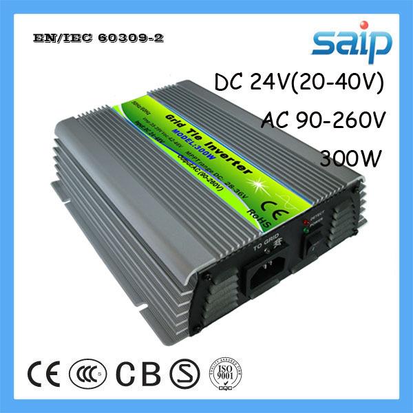 CE Standard General Type DC24V(20-40V) Voltage Pure Sine Wave 300W Grid Tie Solar Inverter with AC90-260V Output Voltage(China (Mainland))