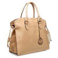 Free Shipping ( Apricot) split cow  leather ( napa )  Office Lady  type messenger bag Tote Bag   handbag