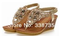 Free shipping 2014 new wedge sandals bohemian handmade beaded diamond women sandals sexy party high-heeled sandals high heels