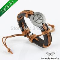 Vintage Handmade Genuine Leather Braid Rope Peace Bracelet Men Unisex Jewelry Adjustable Length