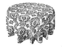 Black and white flocking table cloth,damask table cloth,taffeta table cloth