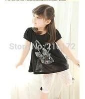 Free shipping 2014 Fashion Children 2pcs Sets cute rabbit printed short T shirt+lace pants baby girls Clothing sets