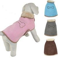 Pet Clothes Dog Snowsuit Coat Winter Jacket Suede Fabric Warm Fleece Inside Pink Blue Brown Grey Size S M L