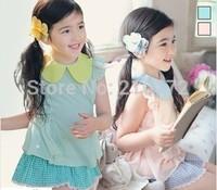 2014 summer girls 2pc set college style suits chiffon T-shirts + Plaid shirt child summer chiffon set