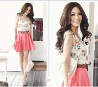 2014 New Summer Casual Dress Crew Neck Floral Chiffon Dress Sleeveless Ball Gown Mini Women Dress Free Shipping