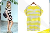 Personalized hit color dress summer fresh wild striped dress loose