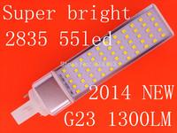 2014 NEW Super bright 2835 LED PL Bulb 12W 2835 SMD 55 LED G23 Corn Light Lamp White/Warm White AC85V-265V Side lighting 2pcs