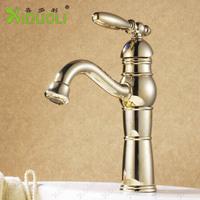 Golden Brass Bathroom Basin Faucet Gourd-shaped short neck polished water faucet. hot&cold basin sink Mixer XDL-1276