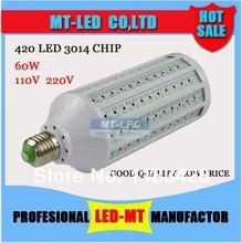 Retail discount 60W Ultra bright Led corn light E27 B22 E14 3014 420led lamps AC110-240V Ultra bright spotlight Free Shipping(China (Mainland))