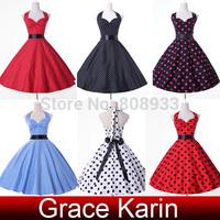 Free Shipping Women Grace Karin Cotton Polka Dots Ball 50s Vintage Dress Short Rockabilly Swing Pinup vestidos 4599