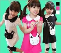 Korean 2014 girls summer suit, cute cat printed pure cotton short sleeve T-shirt and three quarter pants