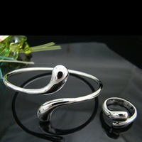 925 Jewelry Sets - S98 / Fashion Water Drop Bracelets & Bangle , Earrings Silver Plated Jewelry Sets Free Shipping