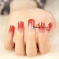 12Color Glitter 1set New2014 Nail Art Stickers Gradual Change Full Tips Foils Decals Fashion Decorations Nail Tools D1-12