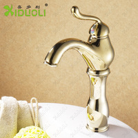Golden Luxury Brass Bathroom Basin Faucet short neck polished water faucet hot&cold basin sink Mixer XDL-12102