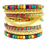 Gold Wide Big Metal Rhinestone Bracelets and Bangles Stack Handmade Wrapped Bracelets Wholesale Fashion Bohemian Jewelry