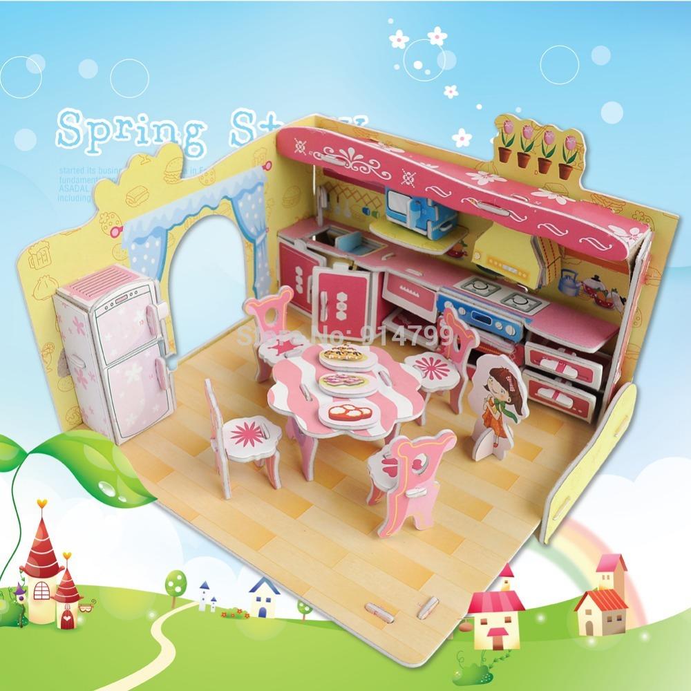 690A Fashion dream villa funny kitchen design boy girls 3D puzzle children kid Mosaic toys DIY toy(China (Mainland))