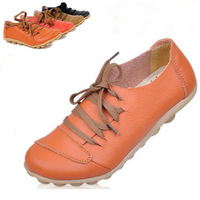 2014 Brand new women genuine leather flats causal nurse shoes round toe flexible driving walking loafers 4 colors Free shipping