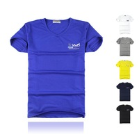 2014 new fashion solid color Slim V-neck T-shirt, carriage logo 8-colors big size l-xxxxl tops tee, casual short sleeves t shirt