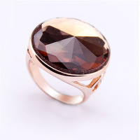 Free Shipping Brown Big Rings Made With Australia Crystal  Real 18k Gold Plated Engagement finger Ring for Women And Man