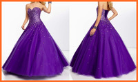 Prom Dresses Ball Gown Sweetheart Purple Tulle Sequins Beading Floor length Party Dresses Women Girl Gown New Arrival