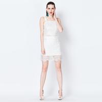 YIGELILA 864 Latest High Quality White Lace Sleeveless Dress Two-piece Sets Free Shipping