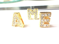 130PCS 8mm A-Z Golden Rhinestone Slide Letters DIY Dog Name Collar Bracelet Belt,2013 hot sale!