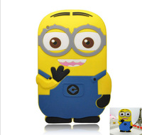 New fashional super cute cartoon model style Despicable Me Yellow Minion silicon material Cover Stand case for i-pad2 3 4 PT1018