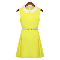Summer Newest Sleeveless Lapel Bright Color Jumper Dress Yellow