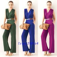 Summer Fashion Wear Women New Grace Deep V OL Jumpsuit For Lady No Belt S M L 0089