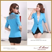 Free Shipping  Women Suits Korea OL Style Summer Short Sleeve Back Lace Women Blazers Hot Fashion High Quality