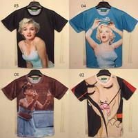 2014 summer clothes Fashion women/men galaxy joke lady monroe crown print short sleeve  3d t shirt top style free shipping