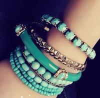 Bohemia ocean wind fashion all-match blue beads multi-layer bracelet 9 piece set bracelet female