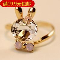 Popular accessories ring crystal rabbit bowknot ring Crystal ring