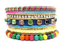 2014 New Spring Summer Multi Color Gold Bracelets and Bangles Set. Luxury Rhinestone Wedding Bridal Bangles Handmade Jewelry