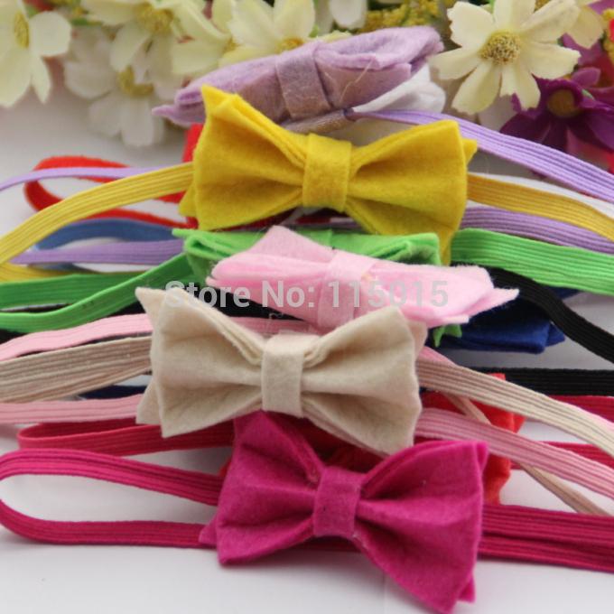 24pcs/lot Felt Flower Baby Headbands, Felt Bows Hair Headband,Hair Accessories Skinny Elastic Headband Free Shipping(China (Mainland))