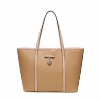 Free Shipping ( Apricot ) split cow  leather  Office Lady  type Tote Bag   handbag   messenger bag