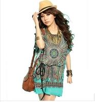 Popular Dresses Women Dress Ethnic waist bat sleeve large size ice silk dress 1 piece free shipping