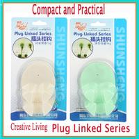 New Creative Living Plug PVC Plug Linked Series Wall Plug hooks Compact and Practical 100pcs/1lot DHL free shipping