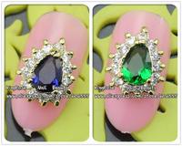 rh1170/1171 zircon new 3d alloy nail art designs glitter tip metal nail art stickers 20pcs/lot nail rhinestone free shipping