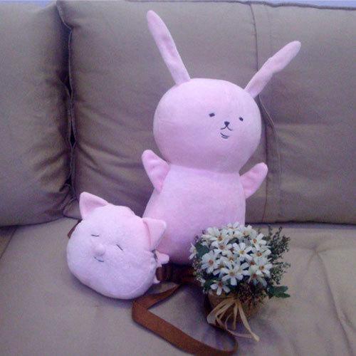 17.7'' No Rerulili, No Zoo! Rabbit and Bag 100% Handmade Custom Stuffed Plush Toy Cos Props Custom Plush Toy(China (Mainland))